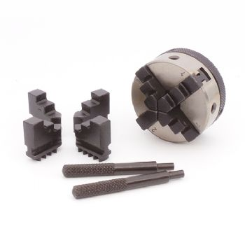 4-jaw, 50mm self-centring micro scroll chuck with  reversible jaws